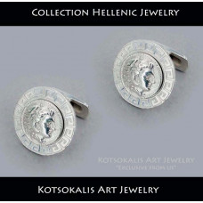 Cufflinks Hellenic Coin Alexandros with Meandros