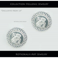 Cufflinks Hellenic Coin Owl(Koukouvagia) with Meandros