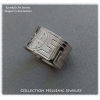 Ring Meandros with symbol or letter 12mm