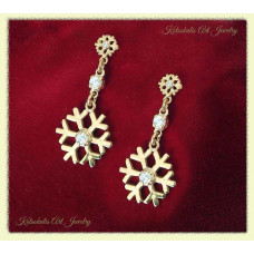 Snowflake Earrings Silver with gold plated