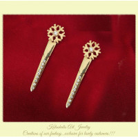 Snowflake Earrings Silver  Stones with gold plated