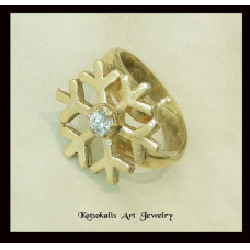 Snowflake ring  Silver with gold plated