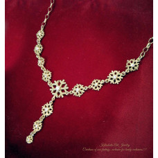 Necklace Snowflake with stones silver with goldplated