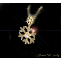 Snowflake pendant  Silver with gold plated 25mm