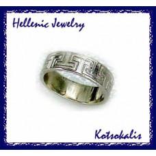 Ring Hellenic Greca band Silver