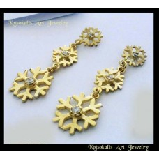 "Earring Snowflake Silver ""Gold plated"" 45mm"