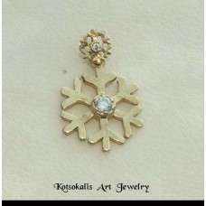 "Pentdant Snowflake Silver ""Gold plated"" 25mm"