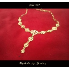 "Necklace Snowflake Silver ""Gold plated""  40-45cm"