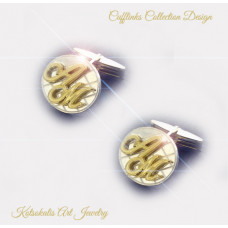 Cufflinks with Letters gold K18-750